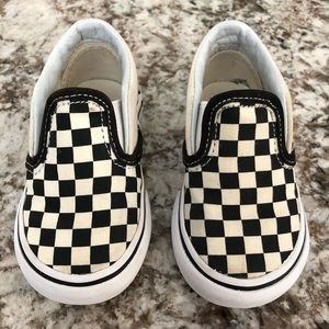Vans Toddler Checker Slip Ons Black Cream Size 4.5